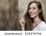 smiling beauty with long hair... | Shutterstock . vector #519374746