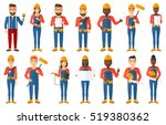 engineer watching blueprint of... | Shutterstock .eps vector #519380362