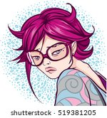young girl in pink glasses | Shutterstock .eps vector #519381205