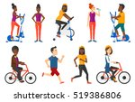 happy business woman riding a... | Shutterstock .eps vector #519386806