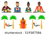man standing in front of table... | Shutterstock .eps vector #519387586