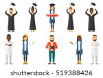 cheerful graduate in cloak... | Shutterstock .eps vector #519388426