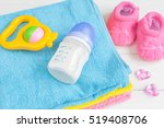 baby bottle with milk and towel ... | Shutterstock . vector #519408706