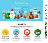 new year party web design. flat ... | Shutterstock .eps vector #519415216