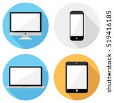 smartphone and computer icons . ... | Shutterstock .eps vector #519416185