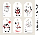 set of six vector holiday... | Shutterstock .eps vector #519425092