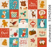 vector advent calendar with... | Shutterstock .eps vector #519425308