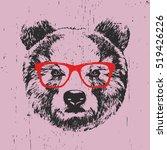 portrait of bear with glasses.... | Shutterstock .eps vector #519426226