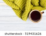 cup of hot tea and a warm... | Shutterstock . vector #519431626