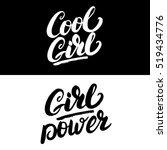 cool girl and girl power hand... | Shutterstock .eps vector #519434776