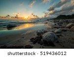 Fire Sunrise On The Sea Beach ...