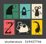 set of retro postage s stamp...