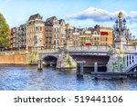 blauwbrug blue bridge over... | Shutterstock . vector #519441106