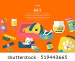 pet concept in fiat design style | Shutterstock .eps vector #519443665