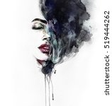 abstract woman face. fashion... | Shutterstock . vector #519444262