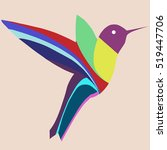colorful hummingbird on beige... | Shutterstock .eps vector #519447706