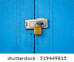 Locked Padlock With Chain At...