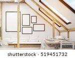 attic interior with a sofa ... | Shutterstock . vector #519451732