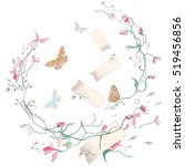 vector floral elements with... | Shutterstock .eps vector #519456856