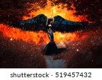 black angel.beautiful sexy girl ... | Shutterstock . vector #519457432
