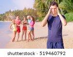stress and headache. young man... | Shutterstock . vector #519460792