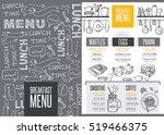 breakfast menu placemat food... | Shutterstock .eps vector #519466375