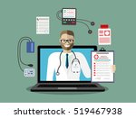doctor out of screen monitor.... | Shutterstock .eps vector #519467938