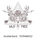 hand drawn boho style design... | Shutterstock .eps vector #519468412