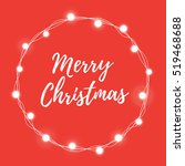 Frame of Christmas lights Round with the words merry Christmas on a red background. Festive vector illustration for web design or greeting card