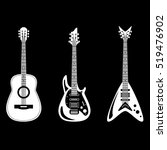 acoustic and electric guitars... | Shutterstock .eps vector #519476902