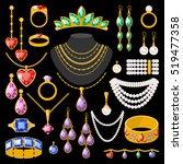 set of cartoon jewelry... | Shutterstock .eps vector #519477358