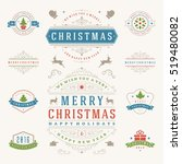 christmas labels and badges... | Shutterstock .eps vector #519480082