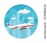 icon airplane on the background ... | Shutterstock .eps vector #519480622