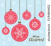 set of christmas balls hanging... | Shutterstock .eps vector #519484402