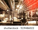 pipes inside energy plant      | Shutterstock . vector #519486022