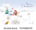 winter rural landscape with... | Shutterstock .eps vector #519488245