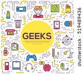 vector outline it geeks people... | Shutterstock .eps vector #519489436
