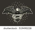 hand drawn eagle with ribbon... | Shutterstock .eps vector #519490228