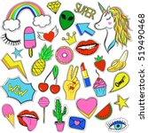 set of trendy cartoon style... | Shutterstock .eps vector #519490468