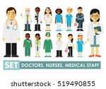 Medicine set with doctor and nurses in flat style isolated on blue background. Practitioner young doctors man and woman standing. Medical staff.