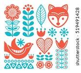 finnish inspired folk art... | Shutterstock .eps vector #519491428