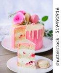 biscuit cake with buttercream... | Shutterstock . vector #519492916
