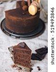 slice of a dark chocolate cake... | Shutterstock . vector #519493846