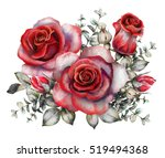 Stock photo watercolor flowers romantic floral illustration red rose branch of flowers isolated on white 519494368