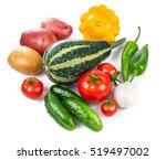 still life of fresh vegetables... | Shutterstock . vector #519497002