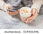 Woman Hands With Coffee Latte...