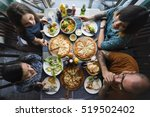 friends eating pizza party... | Shutterstock . vector #519502402