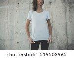 pretty young girl wearing blank ... | Shutterstock . vector #519503965