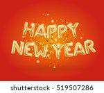 metallic gold letter balloons ... | Shutterstock .eps vector #519507286