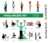 freelancers set with advantages ... | Shutterstock . vector #519509875